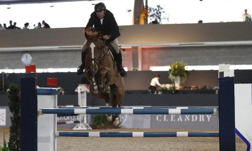 O profissional Caio Gracco montando um cavalo castanho claro, ambos saltando um obstáculo alto azul e branco.